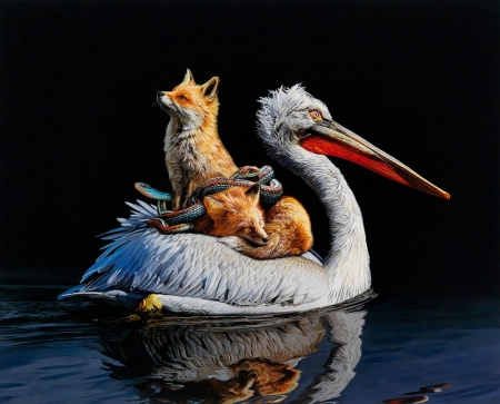 :) - pasari, black, art, pelican, lisa ericson, animal, water, vulpe, bird, fox, painting, pictura