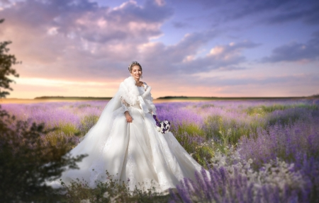 Bride - field, dress, model, bride, sunset, lavender, woman, vara, girl, summer, ekaterina skorobogatova, sly, white