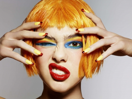 Beauty - yellow, rankin, face, lips, red, model, woman, hair, girl, makeup, hand