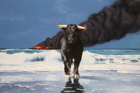 Tempest - art, lisa ericson, black, horns, sea, animal, taur, josh keyes, beach, fire, water, painting, pictura, bull, smoke, blue