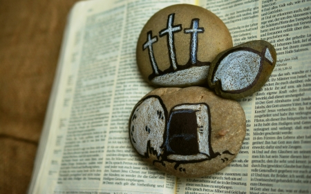 Bible and Easter - rocks, tomb, fish, Bible, crosses, Jesus