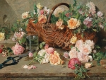 Still life of roses with a basket