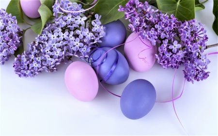 Happy Easter - eggs, easter, ribbons, wisteria