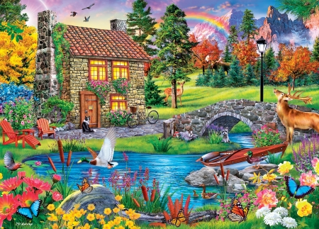 Mountain Retreat - trees, artwork, ducks, butterflies, cabin, rainbow, deer, pond, boat, bridge, flowers, painting