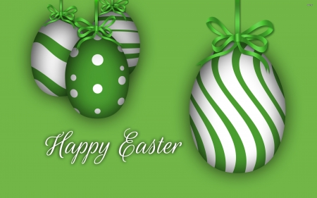 Happy Easter - wallpaper, stripes, poka, dots, green, easter, greetings