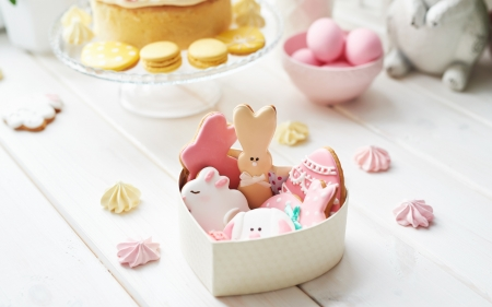 Easter cookies - cookie, rabbit, heart, box, easter, bunny, white, pink