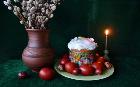 Happy Easter! - eggs, candle, Easter, still life, pussy-willow