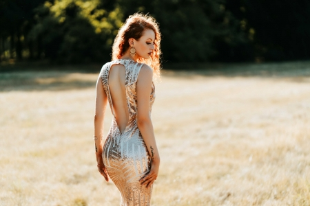 Sexy Redhead - redhead, model, outdoors, gown