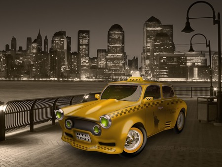 cabbie - new york city, buildings, taxi, yellow cab, lights