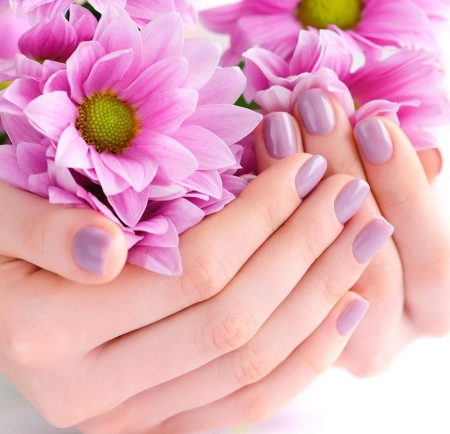 ♥ - hand, flowers, soft, manicure