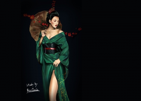 Geisha - parasol, geisha, art, frumusete, luminos, black, kimono, fantasy, girl, green, umbrela, asian, rico doodle