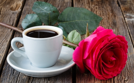 ♥ - red, rose, coffee, cup, white, trandafir, wood, card, brown