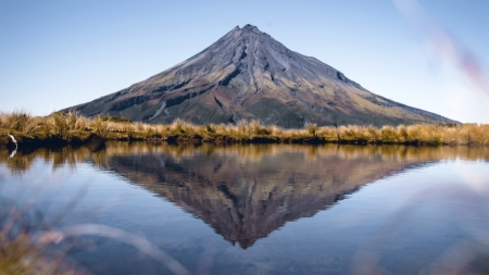 Mount Taranaki, New Zealand - mountain, new zealand, reflection, natue