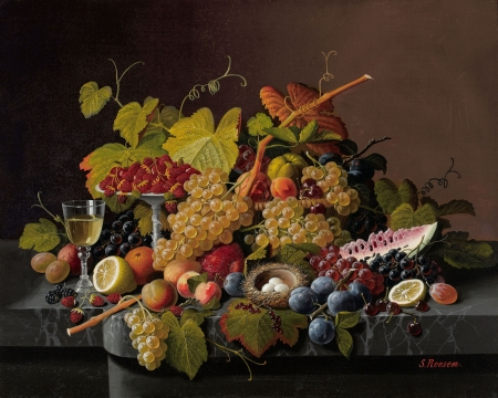Still life with fruit, nest and eggs - nest, Roesen, still, painting, pretty, art, table, HD, fruit, eggs