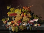 Still life with fruit, nest and eggs