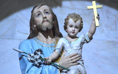 Saint Joseph and Jesus - Saint, Jesus, Joseph, Baby, cross, sculpture