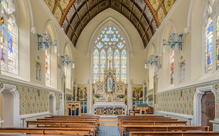 St. Mary's Church - architecture, interior, inside, church, stained glass