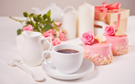 ♥ - cake, rose, food, coffee, cup, white, pink, dessert, sweet
