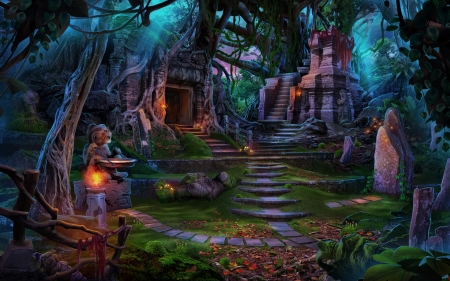 Jungle - olga nikonova, fantasy, luminos, jungle, ruins, game, stuff, blue