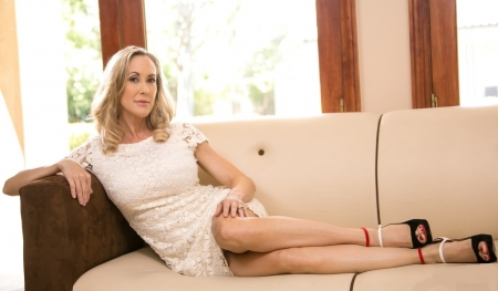 Brandi Love - open toed heels, white lace dress, jewelry, windows, on couch, blonde