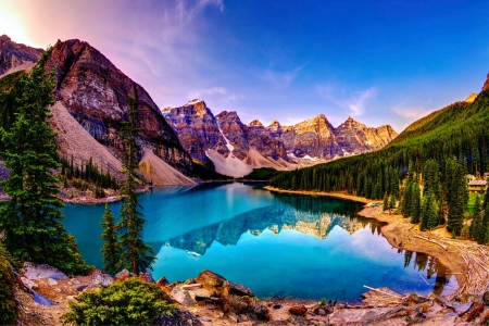 Moraine Lake, Banff National Park - water, alberta, mountains, canada, reflections