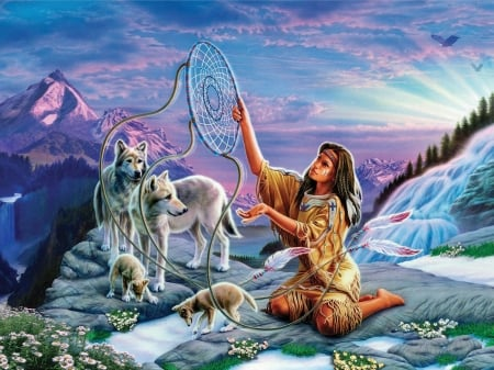Dreamcatcher - native, wolves, mountains, painting, flowers, eagle