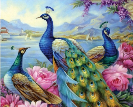Peacocks - mountains, ains, birds, flowers, blossoms, painting, feathers, lake