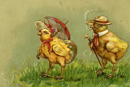 Happy Easter! - pasari, easter, chick, hat, couple, card, vintage, umbrella, bird, parasol