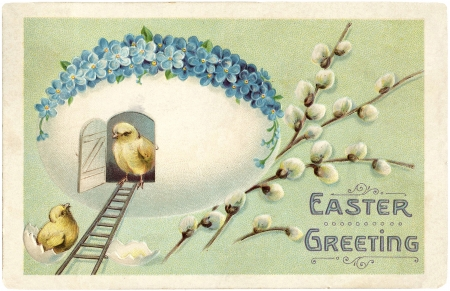 Happy Easter! - chick, blue, card, vintage, house, easter, egg, green, bird, pasari, flower, forget me not, white