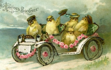 Happy Easter! - car, yellow, pasari, easter, chick, card, vintage, bird, flower, pink