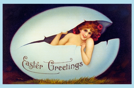 Happy Easter! - egg, redhead, girl, easter, pin-up, vintage, pinup, card