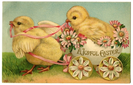 Happy Easter! - bird, pasari, yellow, flower, easter, chick, vintage, card