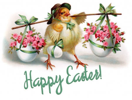 Happy Easter! - bird, pasari, flower, easter, funny, pink, chick, vintage, card