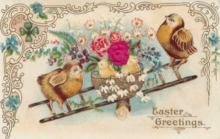 Happy Easter! - bird, pasari, flower, easter, chick, pink, vintage, card