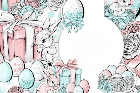 Happy Easter! - white, pink, watercolor, card, blue, rabbit, easter, gift, egg, draw, bunny
