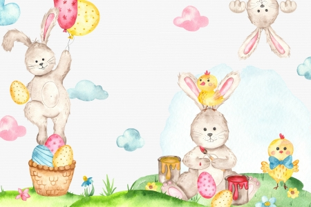 Happy Easter! - egg, draw, balloon, rabbit, easter, bunny, watercolor, card