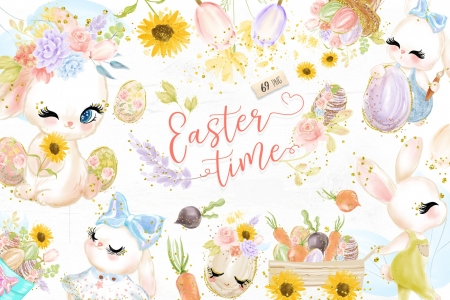 Happy Easter! - draw, easter, bunny, watercolor, card