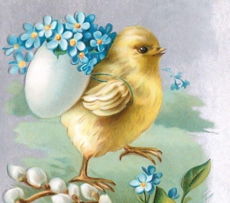Happy Easter! - forget me not, blue, card, yellow, easter, chick, egg, bird, flower, pasari, white, vintage