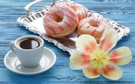 Good Morning! - flower, cup, morning, pink, tulip, blue, food, sweet, dessert, donut, coffee
