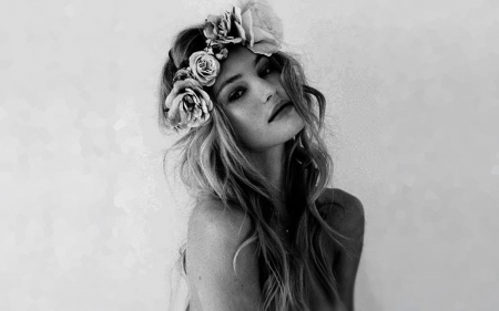 ♡ - blonde, flowers, woman, diaphanous, ethereal
