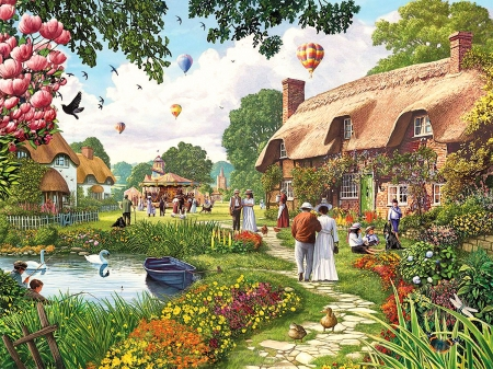 Pond Cottage - ducks, trees, funfair, swans, carousels, artwork, boat, people, balloons, painting, flowers