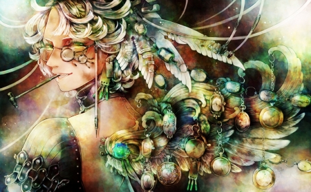 Feathers - girl, feather, angel, anime, manga, yoshizaki kei, frumusete, luminos, fantasy, green