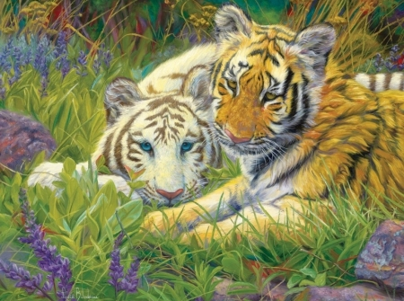 Tiger cubs - art, cute, painting, cub, tiger, tigru, couple, animal, pictura