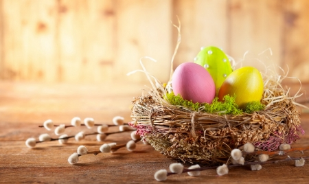 Happy Easter! - holiday, basket, eggs, beautiful, spring, branches, happy, pretty, Easter, arrangement