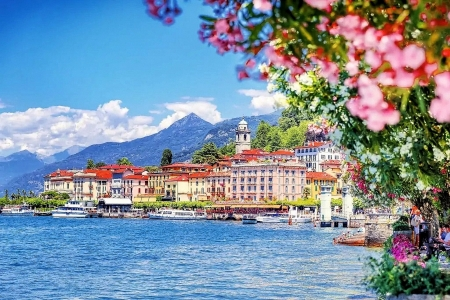 Bellagio, Lake Como - mountains, italy, boats, blossoms, village, spring, alps