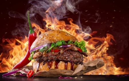 Hot Spicy Burger - foods, entertainment, cool, Hot Spicy Burger, yummy, fun