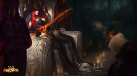 Candle Mistress - angelina chernyak, fantasy, redhead, throne, candle mistress, game, sword, luminos, artwar, dark