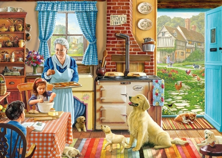 Home, sweet home - art, steve crisp, painting, home, child, kitchen, grandmother, dog, pictura