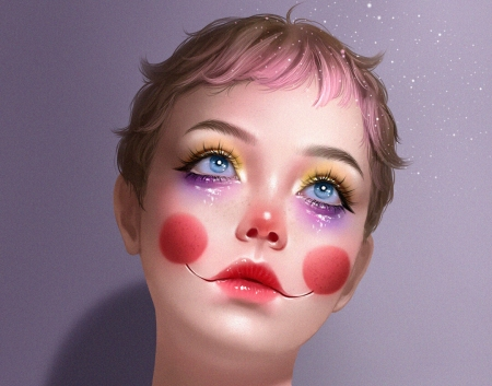 Abril - mari ac, abril, face, portrait, art, red, clown, fantasy, girl, eyes, blue