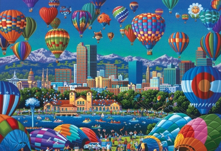 Hot-Air Balloons - blue, art, balloon, hot air balloon, painting, eric dowdle, pictura